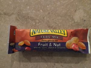 A fruit and nut chewy granola bar.